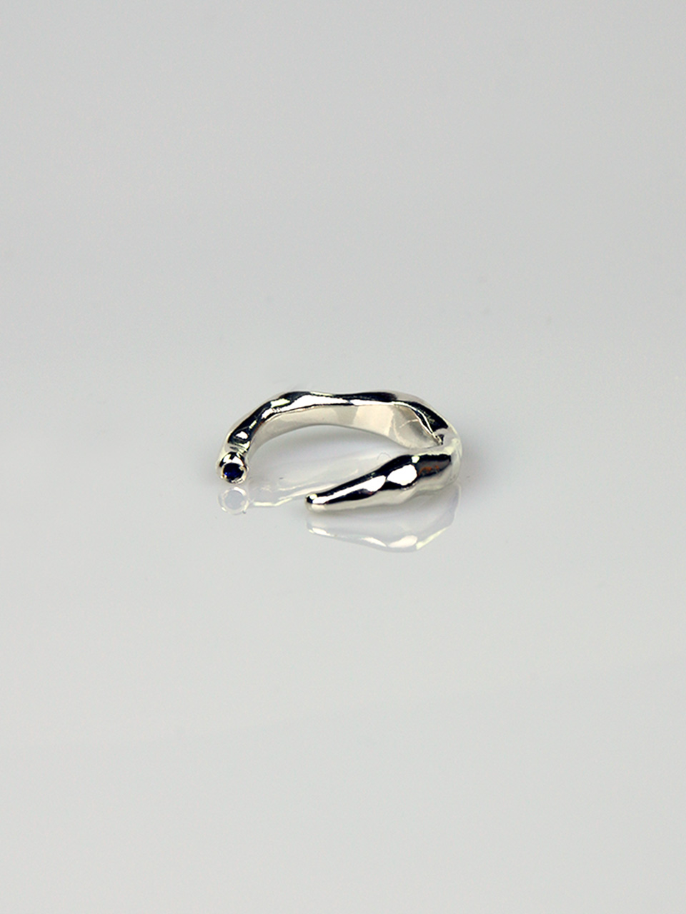 Sapphire / Ruby - Wave Thin Open Ring