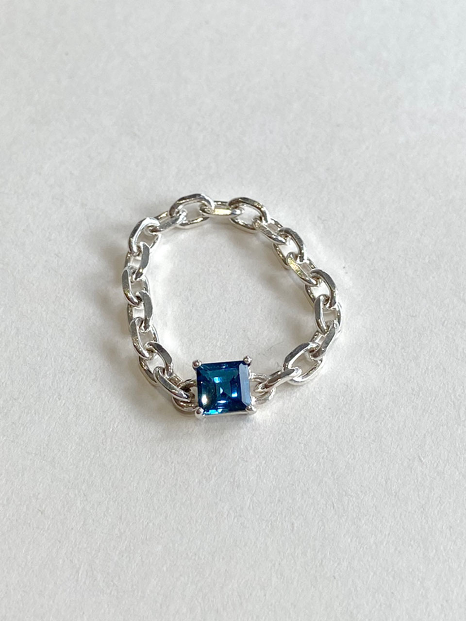 Square Chain Ring - London Blue Topaz